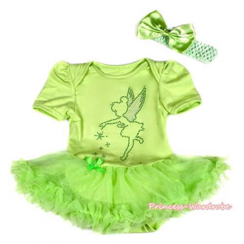 Xmas Light Green Baby Bodysuit Jumpsuit Light Green Pettiskirt With Sparkle Crystal Bling Tinker Bell Print  With Light Green Headband Light Green Satin Bow JS2101
