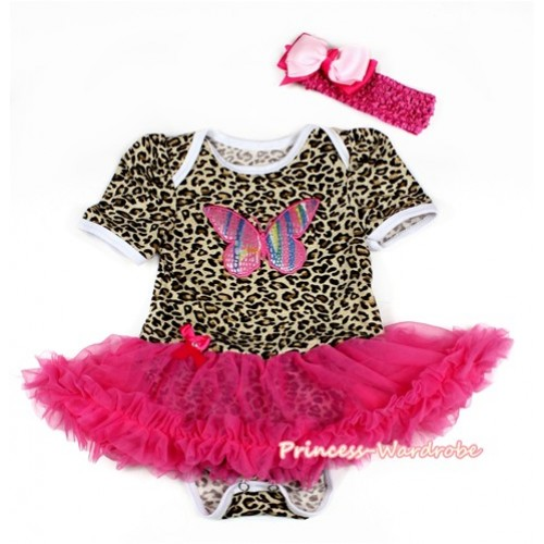 Leopard Baby Bodysuit Jumpsuit Hot Pink Pettiskirt With Rainbow Butterfly Print With Hot Pink Headband Light Hot Pink Ribbon Bow JS2119