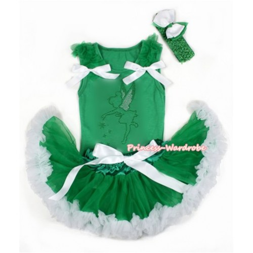Xmas Kelly Green Baby Pettitop with Sparkle Crystal Bling Tinker Bell Print with Kelly Green Ruffles & White Bow with Kelly Green White Newborn Pettiskirt BG100
