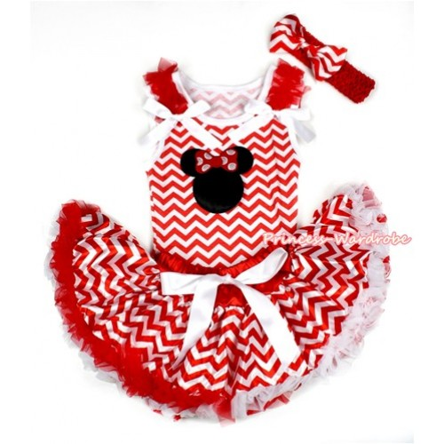 Red White Wave Baby Pettitop with Minnie Print with Red Ruffles & White Bow with Red White Wave Newborn Pettiskirt BG093