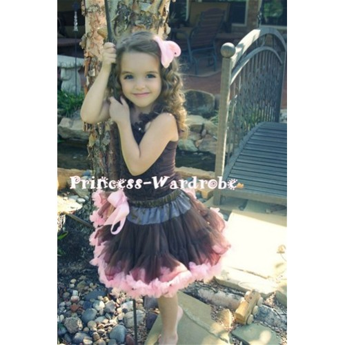 Brown Light Pink Pettiskirt with Matching Brown Ruffles Tank Top MR122
