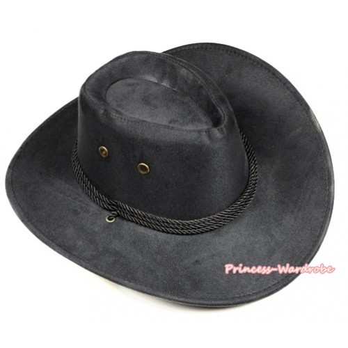 Black Leather Western Cowboy Rope Wide Brim Hat H777
