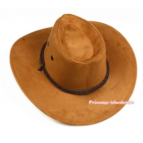 Light Brown Leather Western Cowboy Rope Wide Brim Hat H779