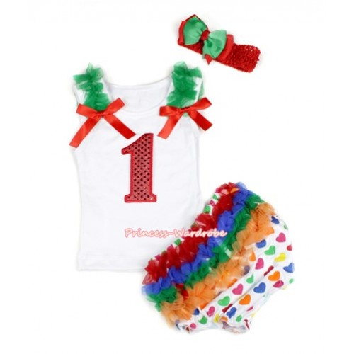 White Baby Pettitop & Kelly Green Ruffles & Red Bows & 1st Sparkle Red Birthday Number Print with White Rainbow Heart Bloomers with Red Headband Green Red Ribbon Bow LD234