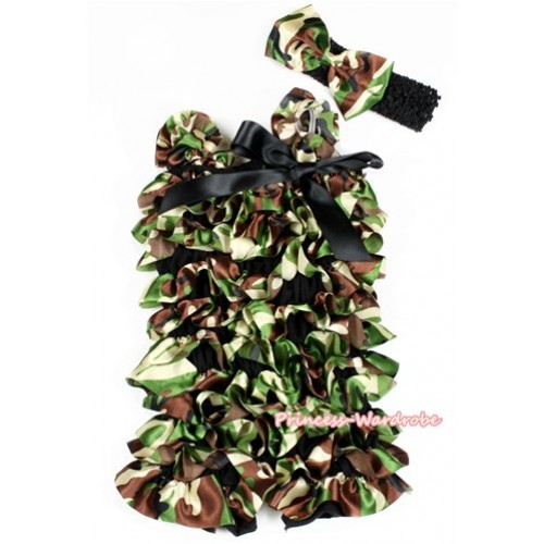 Camouflage Satin Petti Romper with Black Bow & Straps With Black Headband Camouflage Satin Bow 2pc Set LR175