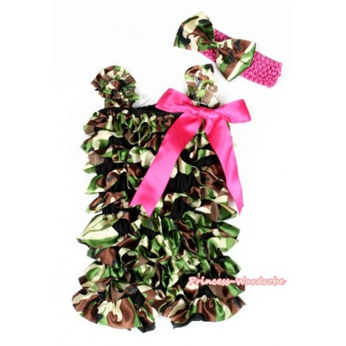 Camouflage Satin Petti Romper with Hot Pink Bow & Straps With Hot Pink Headband Camouflage Satin Bow 2pc Set LR176