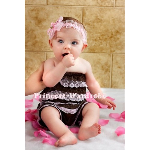 Brown Light Pink Lace Ruffles Petti Romper LR26