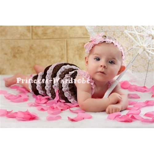 Brown Light Pink Ruffles Petti Romper with Light Pink Straps LR27