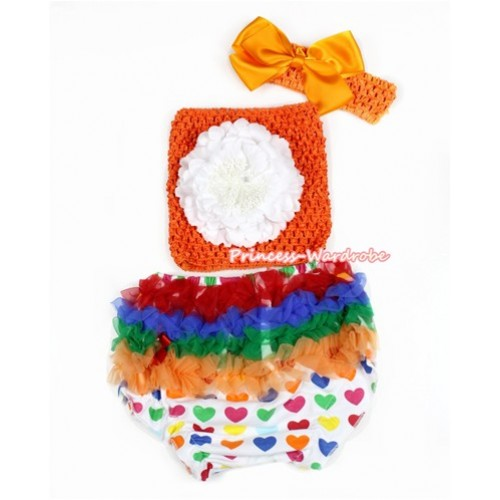 Valentine Rainbow Heart Bloomer ,White Peony Orange Crochet Tube Top,Orange Headband Orange Silk Bow 3PC Set CT662