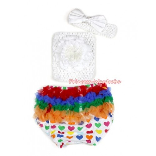 Valentine Rainbow Heart Bloomer ,White Peony White Crochet Tube Top,White Headband White Satin Bow 3PC Set CT663