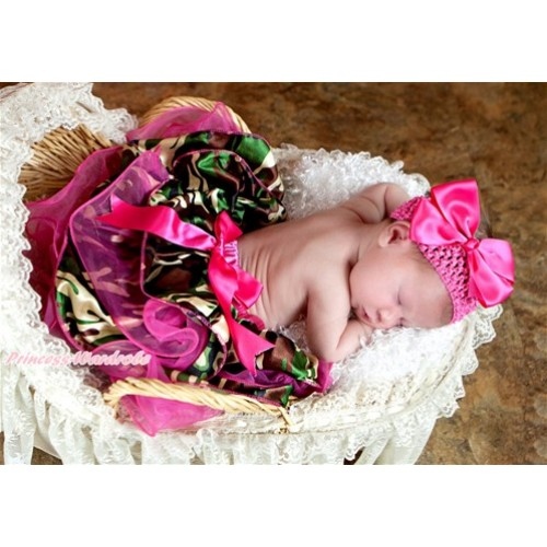 Hot Pink Camouflage Flower Petal Newborn Baby Pettiskirt With Hot Pink Bow N196