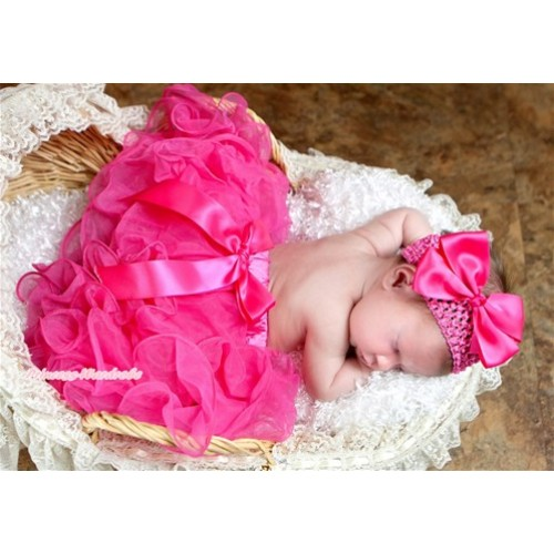 Hot Pink Flower Petal Newborn Baby Pettiskirt With Hot Pink Bow N177