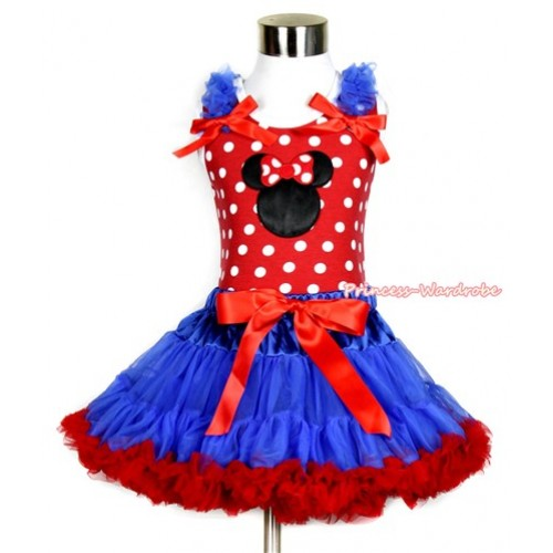 Minnie Dots Tank Top with Minnie Print with Royal Blue Ruffles & Red Bow & Royal Blue Red Pettiskirt MH137