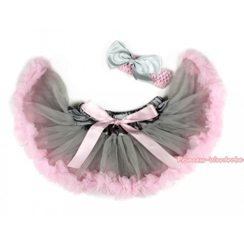 Grey Light Pink Newborn Pettiskirt N203