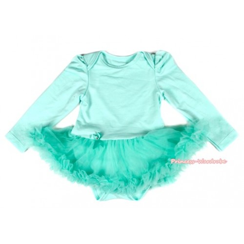 Aqua Blue Long Sleeve Baby Bodysuit Jumpsuit Aqua Blue Pettiskirt JS2137