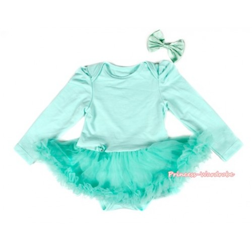 Aqua Blue Long Sleeve Baby Bodysuit Jumpsuit Aqua Blue Pettiskirt With Aqua Blue Satin Bow JS2173