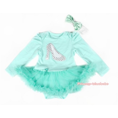 Aqua Blue Long Sleeve Baby Bodysuit Jumpsuit Aqua Blue Pettiskirt With Sparkle White High Heel Shoes Print & White Headband Aqua Blue Satin Bow JS2178