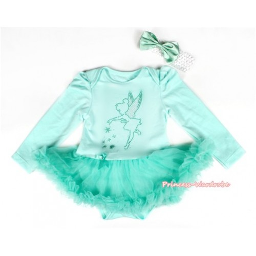 Aqua Blue Long Sleeve Baby Bodysuit Jumpsuit Aqua Blue Pettiskirt With Sparkle Crystal Bling Tinker Bell Print & White Headband Aqua Blue Satin Bow JS2180