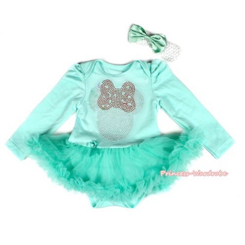 Aqua Blue Long Sleeve Baby Bodysuit Jumpsuit Aqua Blue Pettiskirt With Sparkle Crystal Bling Red Minnie Print & White Headband Aqua Blue Satin Bow JS2181