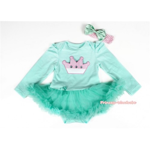 Aqua Blue Long Sleeve Baby Bodysuit Jumpsuit Aqua Blue Pettiskirt With Crown Print & Light Pink Headband Aqua Blue Satin Bow JS2189