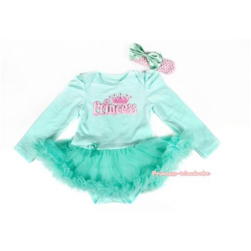 Aqua Blue Long Sleeve Baby Bodysuit Jumpsuit Aqua Blue Pettiskirt With Princess Print & Light Pink Headband Aqua Blue Satin Bow JS2190