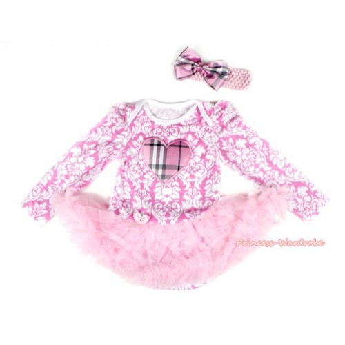Light Pink White Damask Long Sleeve Baby Bodysuit Jumpsuit Light Pink Pettiskirt With Light Pink Checked Heart Print & Light Pink Headband Light Pink Checked Satin Bow JS2199