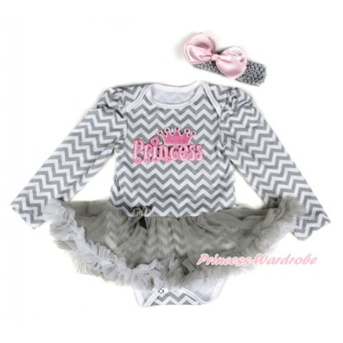 Grey White Wave Long Sleeve Baby Bodysuit Jumpsuit Grey White Pettiskirt With PRINCESS Print & Grey Headband Light Pink Silk BowJS2242