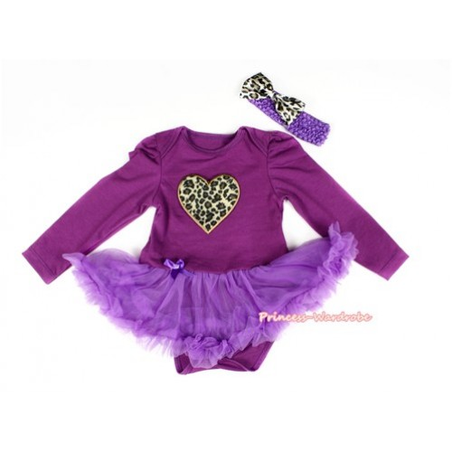 Dark Purple Long Sleeve Baby Bodysuit Jumpsuit Dark Purple Pettiskirt With Leopard Heart Print & Dark Purple Headband Leopard Satin Bow JS2277