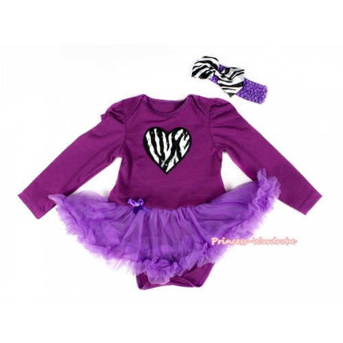 Dark Purple Long Sleeve Baby Bodysuit Jumpsuit Dark Purple Pettiskirt With Zebra Heart Print & Dark Purple Headband Zebra Satin Bow JS2279