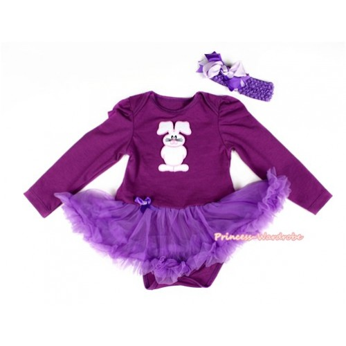 Dark Purple Long Sleeve Baby Bodysuit Jumpsuit Dark Purple Pettiskirt With Bunny Rabbit Print & Dark Purple Headband Light Pink Dark Purple Screwed Ribbon Bow JS2283