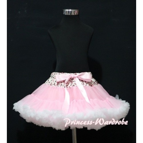 Light Pink Leopard Waist Light Pink White Full Pettiskirt P116