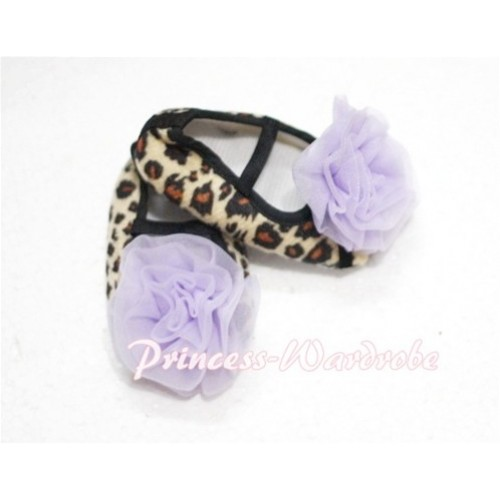 Baby Leopard Crib Shoes with Light Purple Rosettes S106