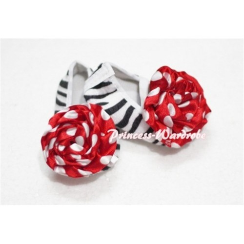Baby Zebra Crib Shoes with Red White Poika Dot Rosettes S111
