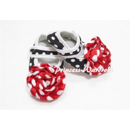 Baby Black white Polka Dot Crib Shoes with Red White Polka Dot Rosettes  S112