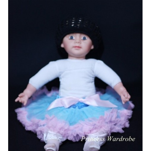 Light Blue With Light Pink New Born Pettiskirt N27