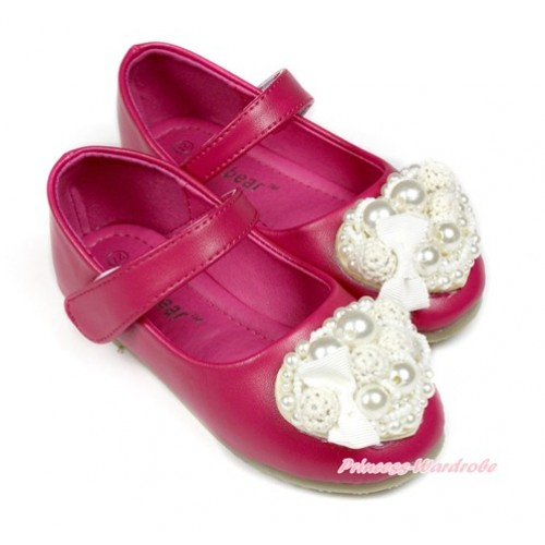 Valentine White Pearl Bow Heart Hot Pink Casual Kid Girl Slip On Shoes D03-14