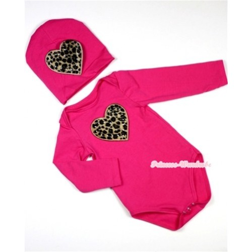 Hot Pink Long Sleeve Baby Jumpsuit with Leopard Heart Print with Cap Set LS88