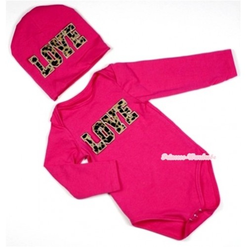 Hot Pink Long Sleeve Baby Jumpsuit with Leopard Love Print with Cap Set LS90