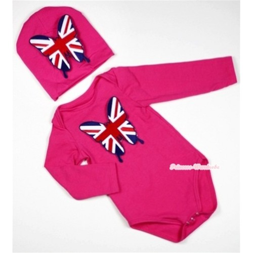 Hot Pink Long Sleeve Baby Jumpsuit with Patriotic British Butterfly Print with Cap Set LS96