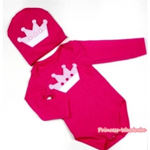 Hot Pink Long Sleeve Baby Jumpsuit with Crown Print with Cap Set LS103