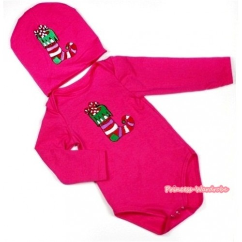 Hot Pink Long Sleeve Baby Jumpsuit with Christmas Stocking Print with Cap Set LS104