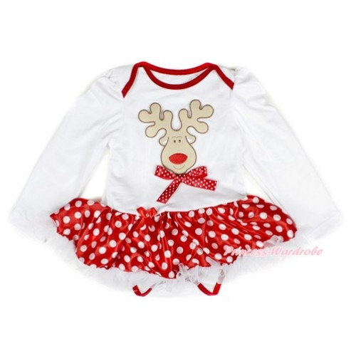 Xmas White Long Sleeve Baby Bodysuit Jumpsuit Minnie Dots White Pettiskirt With Christmas Reindeer Print & Minnie Dots Bow Print JS2306