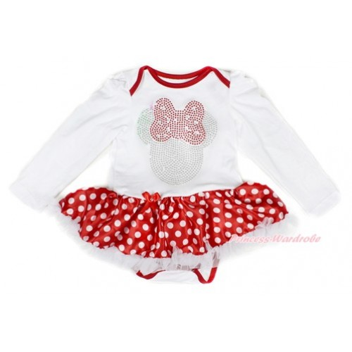 Xmas White Long Sleeve Baby Bodysuit Jumpsuit Minnie Dots White Pettiskirt With Sparkle Crystal Bling Red Minnie Print Print JS2308