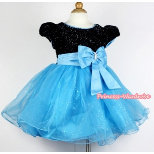 Light Blue Big Bow Waist,Black & Light Blue Wedding Party Dress PD030