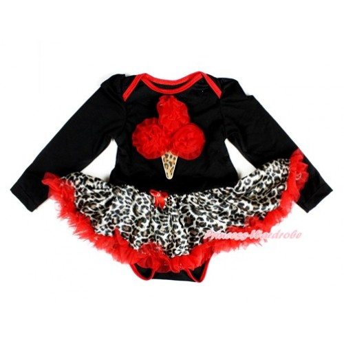 Black Long Sleeve Baby Bodysuit Jumpsuit Leopard Red Pettiskirt With Red Rosettes Leopard Ice Cream Print JS2357