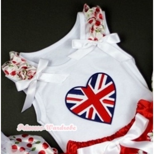 Patriotic Britain Heart Print White Tank Top with White Cherry Ruffles White Bows TB202