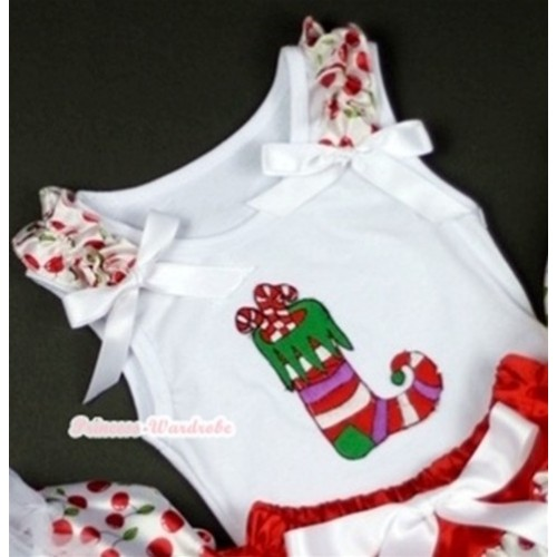 Christmas Stocking Print White Tank Top with White Cherry Ruffles White Bows TB203