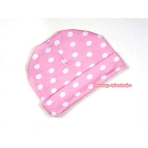 Light Pink White Polka Dots Cotton Cap TH277