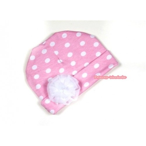 Light Pink White Polka Dots Cotton Cap with White Rose TH279