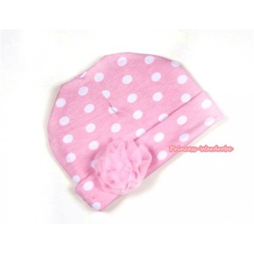 Light Pink White Polka Dots Cotton Cap with Light Pink Rose TH280